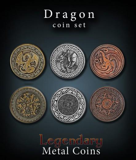 Legendary Metall Münzen Set Drachen