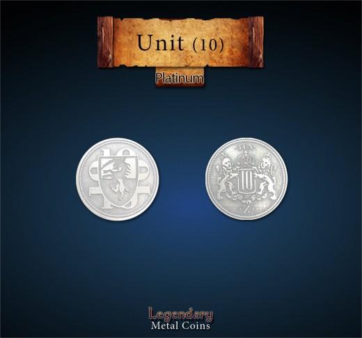 Legendary Metall Münzen: Einzelmünze Platin 10