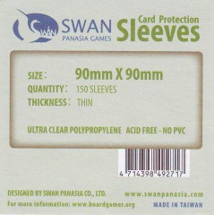 Swan card protection sleeves 90mm x 90mm, 130 pcs thin