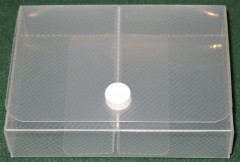 multifunctional card box for small or square cards, dice, etc., clear plastic