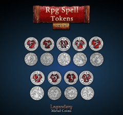 Legendary Metall Münzen RPG Spell Token Set
