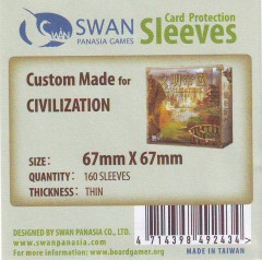 Swan card protection sleeves 67mm x 67mm, 160 pcs thin